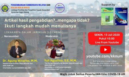 Pasca KKN, PSWKKN Universitas Negeri Malang adakan Loyaring Penulisan Artikel Pengabdian Masyarakat bagi Mahasiswa KKN dan Umum